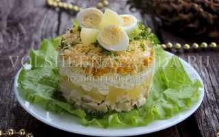 ананасовый салат с курицей и сыром слоями