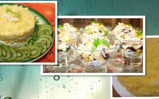 салат с курицей и ананасами и кукурузой