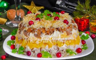 салат курица с ананасами и грецкими орехами