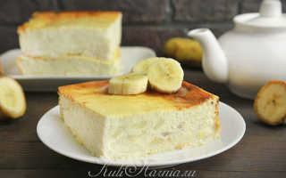 банановая запеканка с творогом в духовке рецепт