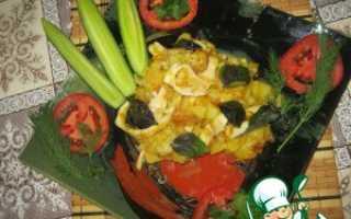 Горячие блюда с кальмарами и картофелем