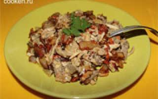 салат с печенью и грибами шампиньонами